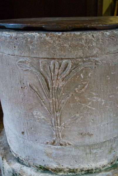 Northmoor, St Denys Church photo, Early English font with fleur-de-lys carving