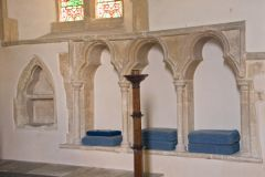 Northmoor, St Denys Church, Three-seat sedilia and piscina