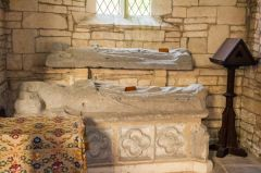 Notgrove, St Bartholomew's Church, 14th century effigies of priests, north transept
