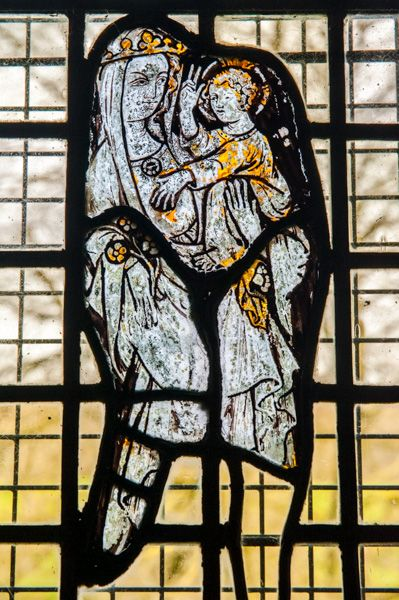 Notgrove, St Bartholomew's Church photo, AD 1300 glass in the vestry
