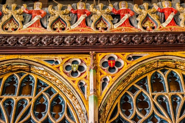 Offwell, St Mary's Church photo, The top of the 15th century screen