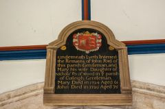 Offwell, St Mary's Church, Memorial to John and Mary Ford, c. 1724