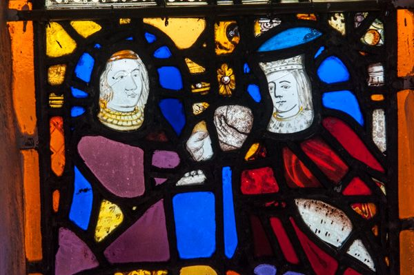 Offwell, St Mary's Church photo, Fragments of medieval stained glass