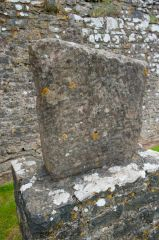 Carved Celtic stone by the keep