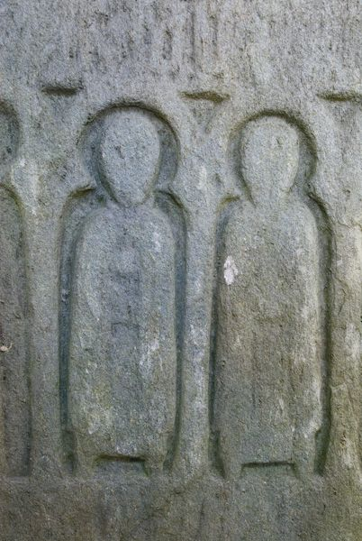 Oronsay Priory photo, Grave slab carving