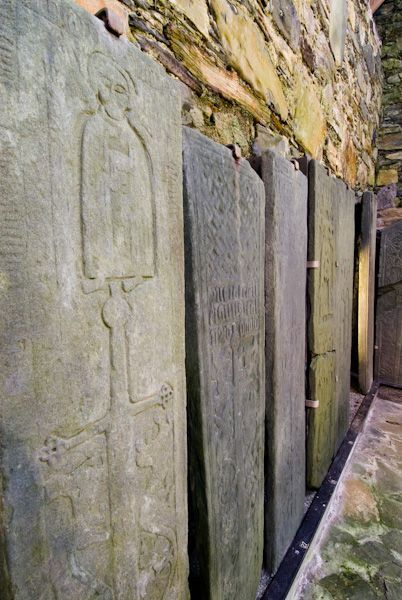 Oronsay Priory photo, Medieval grave slabs