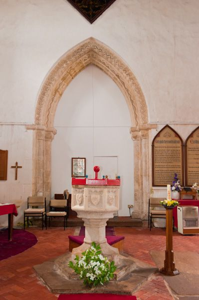 Ottringham, St Wilfrid's Church photo, Font and tower arch