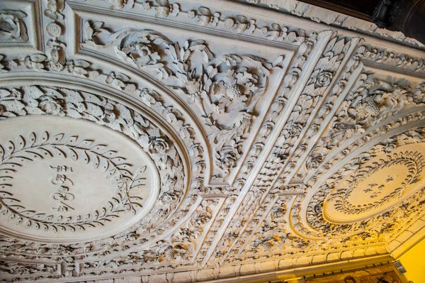 Owletts photo, The staircase hall plasterwork ceiling