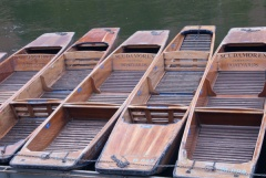 Punts moored at Magdalen Bridge