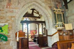 Chancel arch and 15th century screen