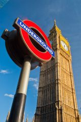 Big Ben, The clock tower and London underground sign