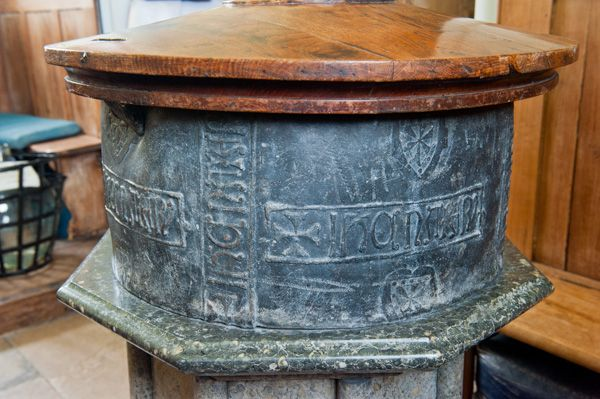 Parham, St Peter's Church photo, Close-up of the lead font bowl