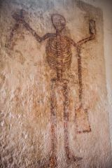 Wall painting of Time as a skeleton