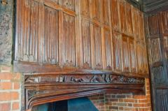Fireplace and linenfold panelling