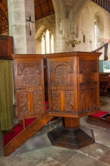 The octagonal Jacobean pulpit