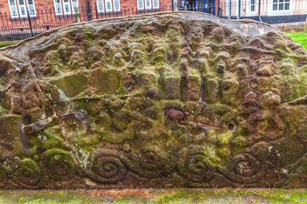Penrith, St Andrew's Church photo, Carving detail on one of the hogback stones