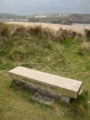 Perranporth, Memorial seat to 'Poldark' author Winston Graham (c) Philip Halling
