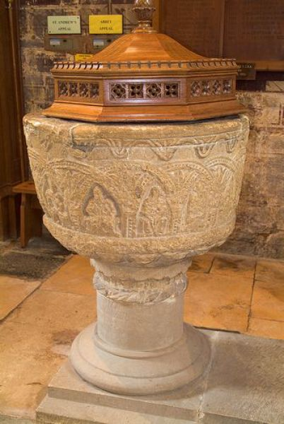 Pershore Abbey photo, The Norman font