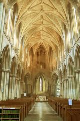 Looking down the abbey nave
