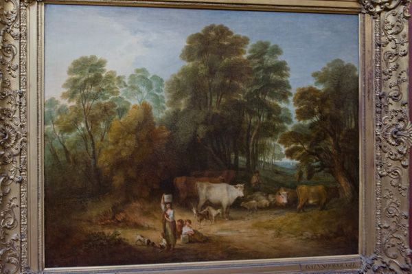 Petworth House photo, Landscape: Children and Cattle, by Gainsborough in the north gallery