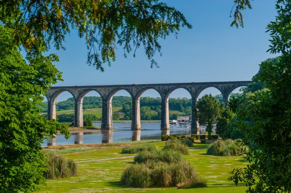 Port Eliot photo, View of St Germans viaduct from the riverside walk