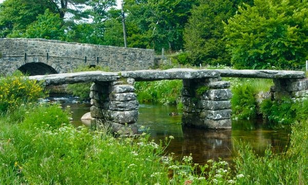 Postbridge photo, The two Postbridge bridges, medieval and 18th century