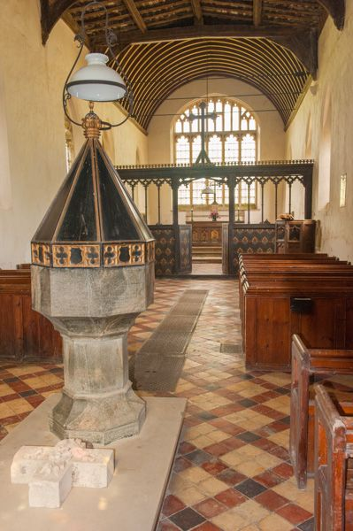 Potsgrove, St Mary's Church photo, Font and nave view