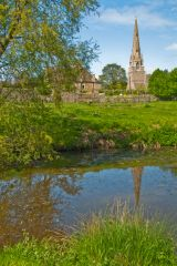 Nassington church from the fish pond
