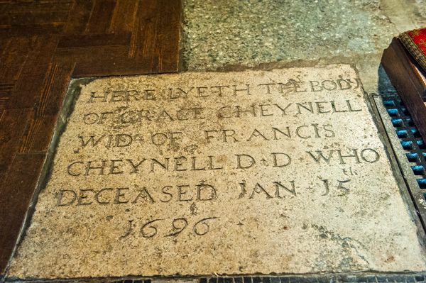 Brighton, St Peter's Church photo, Memorial to Grace Cheynell, 1696
