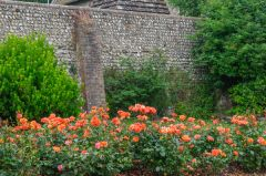 Preston Manor, Flower borders against the church wall