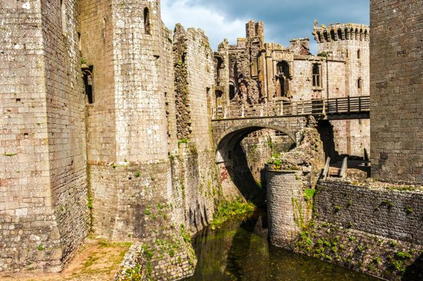 Raglan Castle  photo, The moat and bridge to the Great Tower