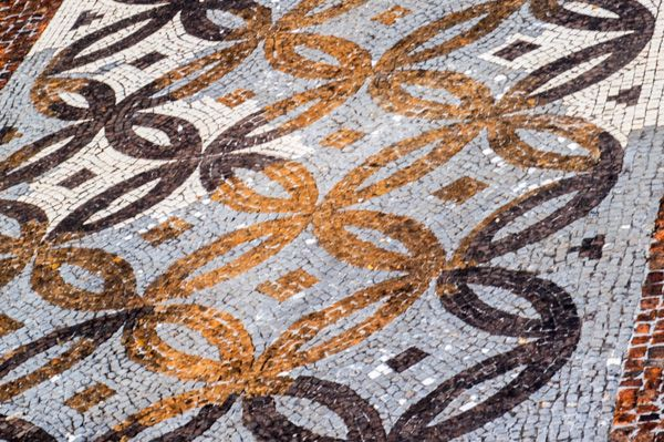 Rockbourne Roman Villa photo, Detail of mosaic from the Triclinium