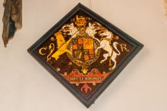 Rockbourne, St Andrew's Church, Painted royal coat of arms, 1678
