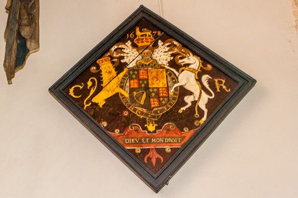 Rockbourne, St Andrew's Church photo, Painted royal coat of arms, 1678