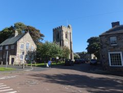 Rothbury, All Saints church and the market place (c) Barbara Carr