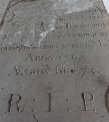 Rotherwas Chapel, 1762 grave stone set into the floor