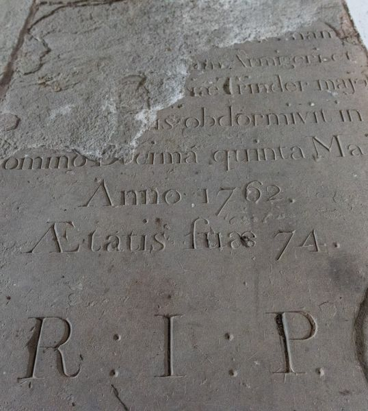 Rotherwas Chapel photo, 1762 grave stone set into the floor
