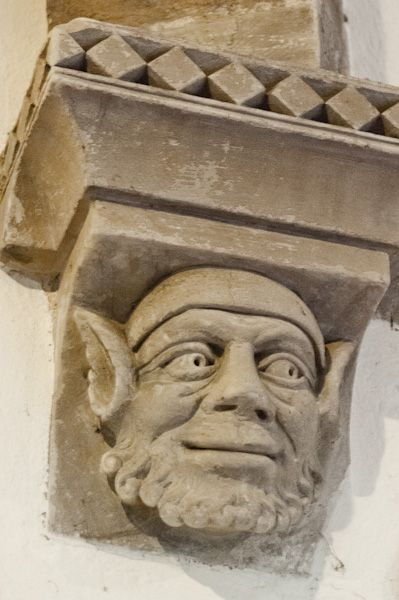 Round Church, Cambridge photo, Victorian 'restored' corbel head