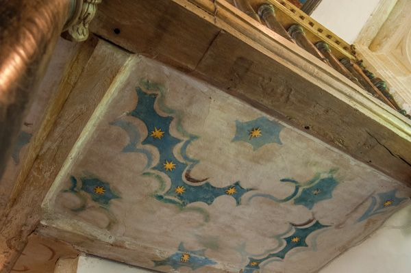 Rycote Chapel photo, The west gallery painted ceiling