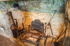Medieval fireplace in Ypres Tower