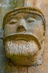 Carved face, south porch