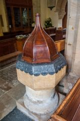 Salcombe Regis, St Mary & St Peter's Church, The Norman font and 15th century inner bowl