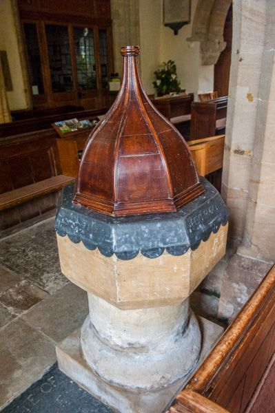 Salcombe Regis, St Mary & St Peter's Church photo, The Norman font and 15th century inner bowl