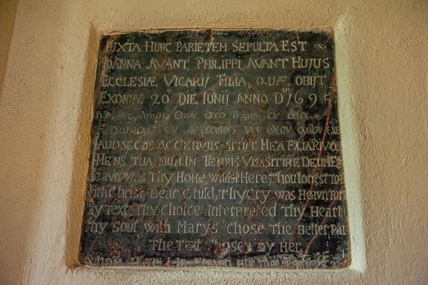 Salcombe Regis, St Mary & St Peter's Church photo, Avant memorial brass, 1695