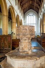 Salthouse, St Nicholas Church, Lion font and nave