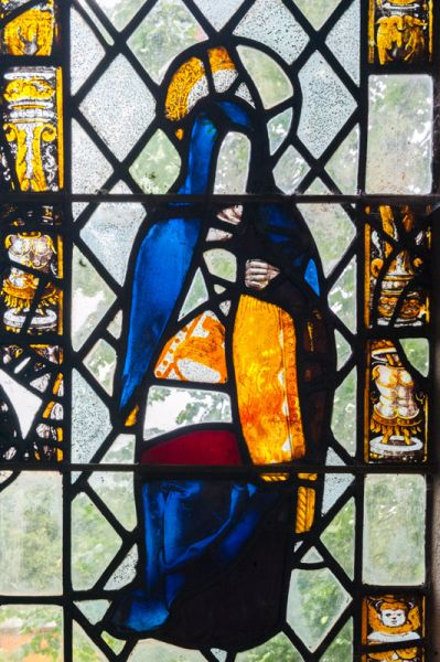 Sampford Courtenay, St Andrew's Church photo, Medieval stained glass figure