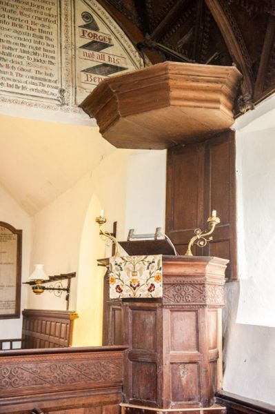 Satterleigh,  St Peter's Church photo, The Georgian pulpit and tester
