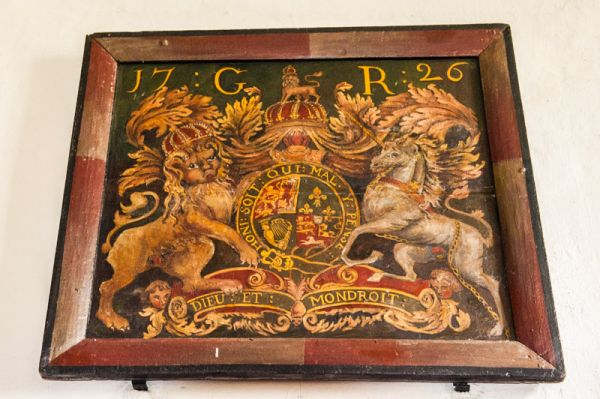 Satterleigh,  St Peter's Church photo, 1726 royal coat of arms