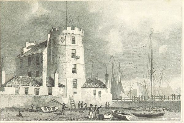 Mylne's Mill, 1829 print by ThomasShepherd showing the Signal Tower