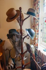 Shaw's hats on the hatstand